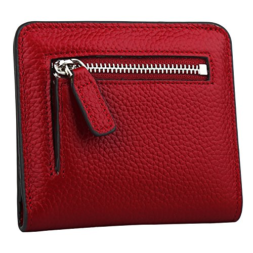 GDTK RFID Blocking Wallet Women's Small Compact Bifold Leather Purse Front Pocket Mini Wallet (Wine Red) by GDTK (Image #3)
