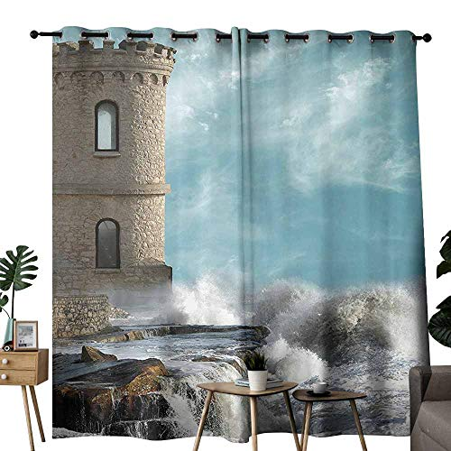 (duommhome Medieval Decor Collection Bathroom Curtain Old Middle Age Tower by The Sea Renaissance Buildings Dreamy Princess Home Print Beautiful and Elegant W72 xL62 Cream Blue White)