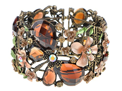 Alilang Gold Tone Floral Topaz Crystal Rhinestone Flower Butterfly Dragonfly Cuff Bangle Bracelet