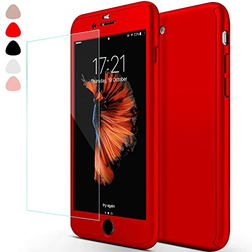 iPhone 6 Case,iPhone 6S Cases,sxxissky Ultra-thin Full Body Coverage Hard Hybrid Plastic with [Tempered Glass Screen Protector] Protective Case Cover & Skin for Apple iPhone 6 /6S 4.7 Inch(Red)