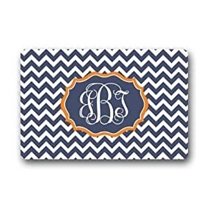 EASY LIFE STYLE Custom Doormat Machine-Washable Door Mat Chevron With Monogram Indoor/Outdoor Doormat 23.6 x 15.7 Inches