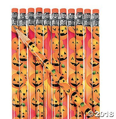 Fun Express 24 Wooden Halloween Pumpkin Pencils ()