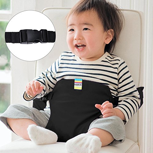 YISSVIC Portable Baby Feeding Chair Belt Toddler Safety Seat with Straps Child Chair Soft Belt Outdoor Portable Travel High Chair Booster Baby Seat Belt Black (Portable High Chair)