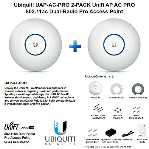 Ubiquiti UAP-AC-PRO 2-PACK Unifi AP AC PRO 11ac Dual-Radio Pro Access Point by Ubiquiti Networks