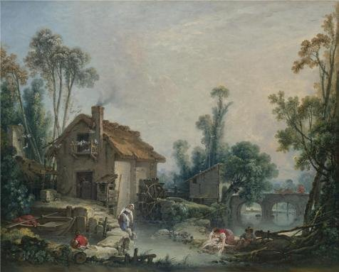Boucher Costume Jewelry (High Quality Polyster Canvas ,the Vivid Art Decorative Prints On Canvas Of Oil Painting 'Franois Boucher - Landscape With A Watermill,1755', 30x37 Inch / 76x95 Cm Is Best For Basement Decor And Home Gallery Art And Gifts)