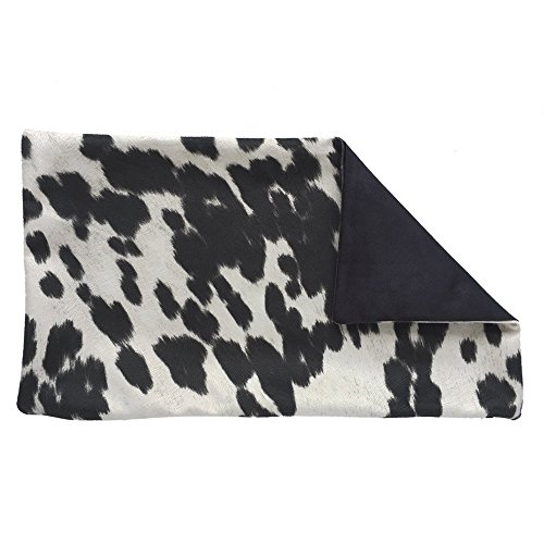 Chloe & Olive Handmade Faux Fur Cowhide Decorative Throw Toss Pillowcase - Western Decor - Black and White 12x20