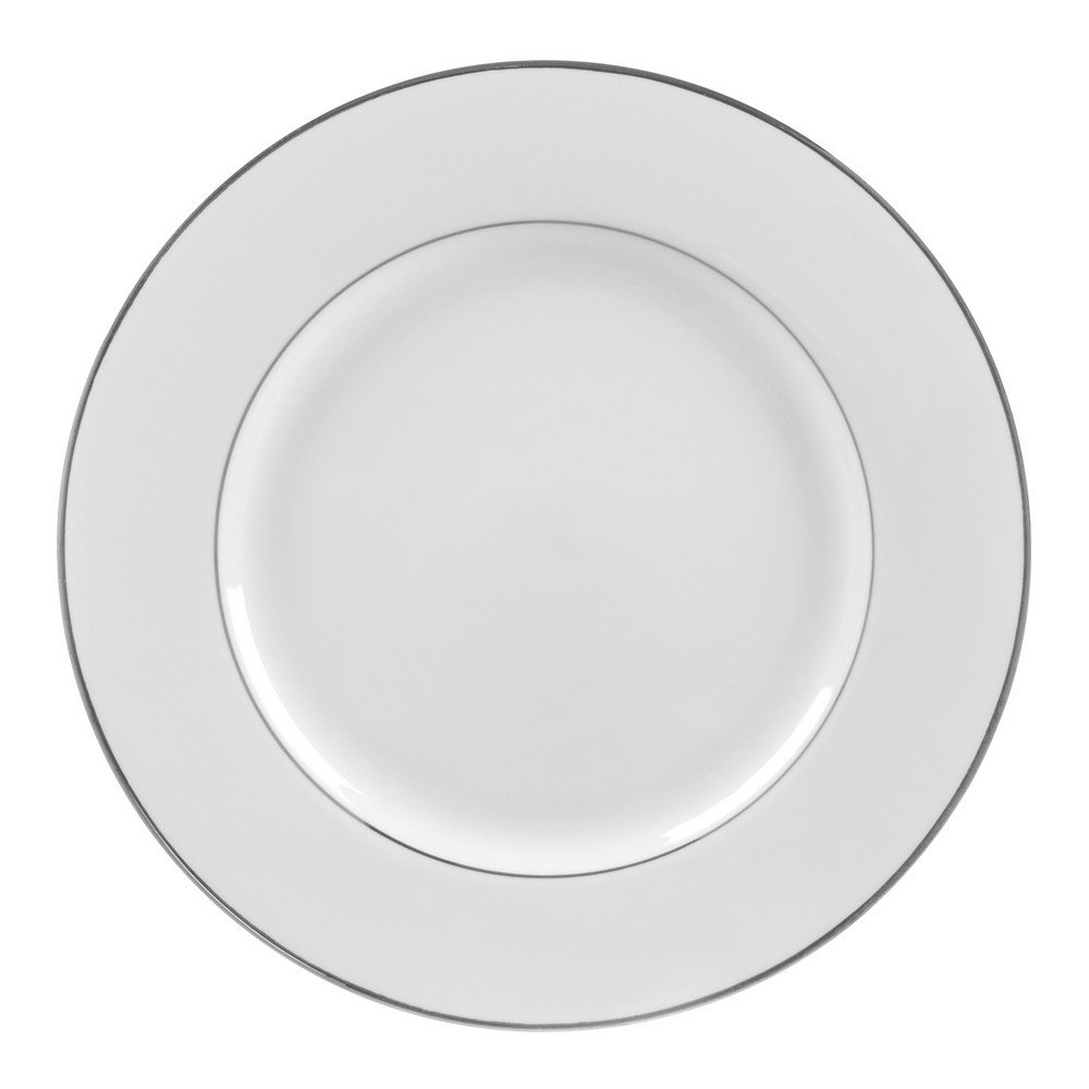 10 Strawberry Street Double Silver Line 12.25'' Charger/Buffet Plate, Set of 6, White/Silver