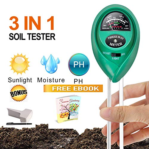 (DreamHome 3 in 1 Soil Tester Tool – Analyses Moisture, Light Meter, pH Tester for Balanced Healthy Soil – Perfect for Indoor and Outdoor Plants (No Battery Needed) 6 Plant Tags Included (Green))
