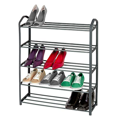 Smart Design 5-Tier Steel Shoe Rack - Holds 15 Pairs of Shoes - Easy Assembly - for Entryway, Closet, Garage - Home Organization (24 x 30 Inch) [Light Gray]
