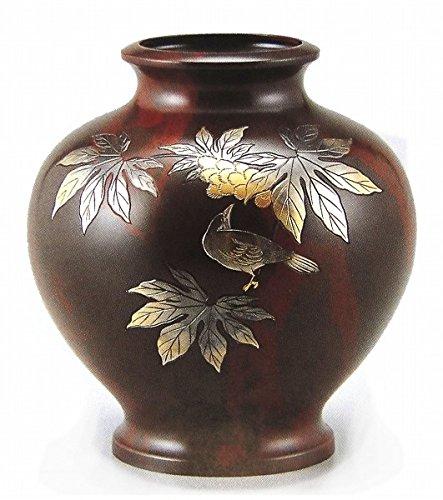山本秀峰『楓に鳥花器』銅製 B079L5KG6G
