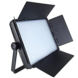ePhotoInc 110V-240V Dimmable Video Photo Studio DSLR Camera Photography Barndoor Light Panel with Sony V mount Plate CN900SA