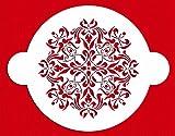Designer Stencils C144 French Medallion Cake Stencil Top (8''), Beige/semi-transparent