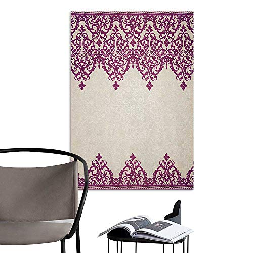 Waterproof Art Wall Paper Poster Turkish Pattern Old Fashioned Borders with Spiral and Tangled Leaves in Rococo Style Fuchsia Beige Corridor Walkway Wall W24 x H36]()