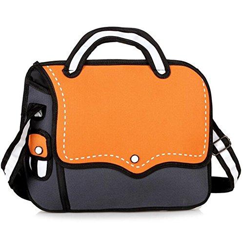 Nuobo 3D Jump Style 2D Drawing From Cartoon Paper Bag Messenger Bag Comic Women Shoulder Bag (orange)