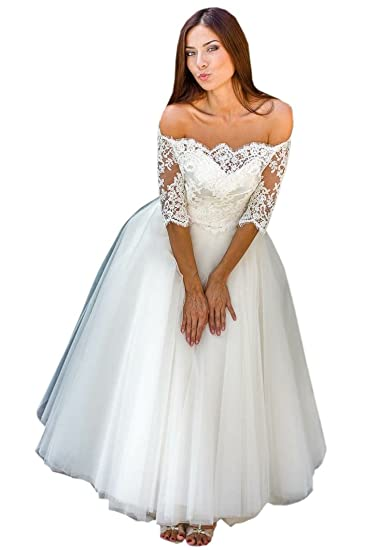 22f4857b40e23 Mollybridal Tea Length Wedding Dress for Bride A line Tulle Off The  Shoulder with Sleeves Lace 2018 at Amazon Women's Clothing store: