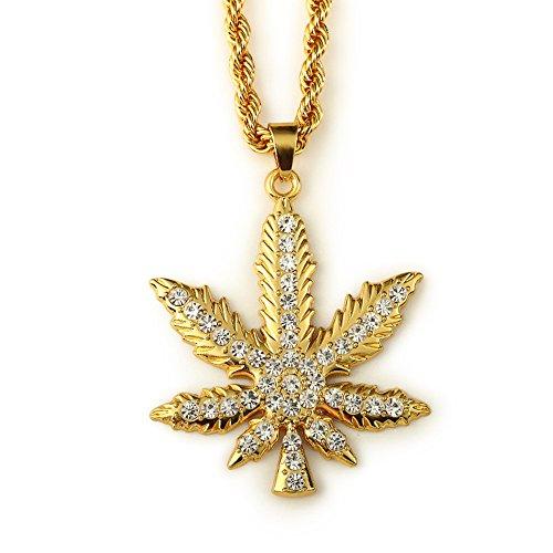 Hip-Hop Marijuana Leaf Pendant Necklace with Rhinestones (31