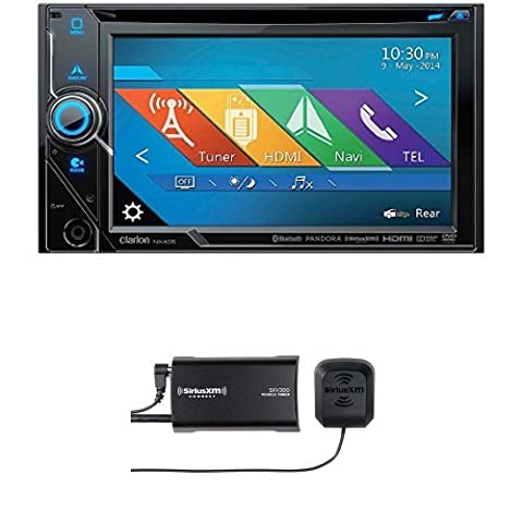Clarion NX405 2-Din DVD Multimedia Station with SiriusXM SXV300v1 Connect Vehicle Tuner Bundle (Clarion Android)