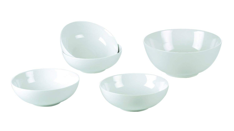 5 Piece White Porcelain Pasta/Salad Bowl Set Waterside Fine China