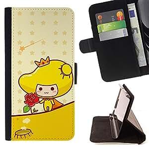 BullDog Case - FOR/Samsung ALPHA G850 / - / Cute Princess Rose /- Monedero de cuero de la PU Llevar cubierta de la caja con el ID Credit Card Slots Flip funda de cuer