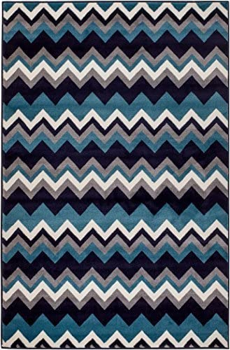 New Summit Elite S66 Navy Blue Chevron Design Modern Abstract Area Rug 8x11 Actual Size is 7'.4''x10'.6''