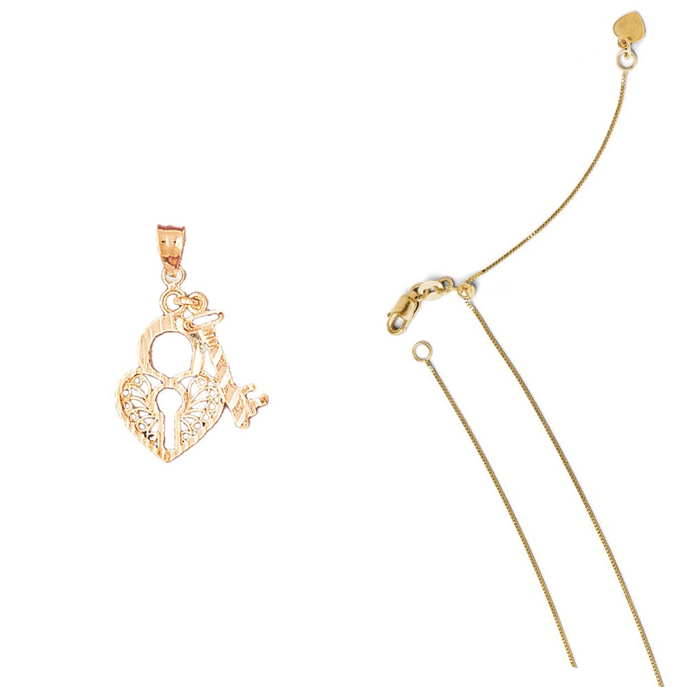 14K Yellow Gold Heart Lock and Key Pendant on an Adjustable 14K Yellow Gold Chain Necklace
