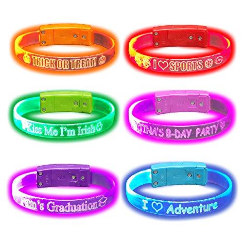 Personalize & Custom Message - Light Up LED Wristbands / Bracelets (1 only)