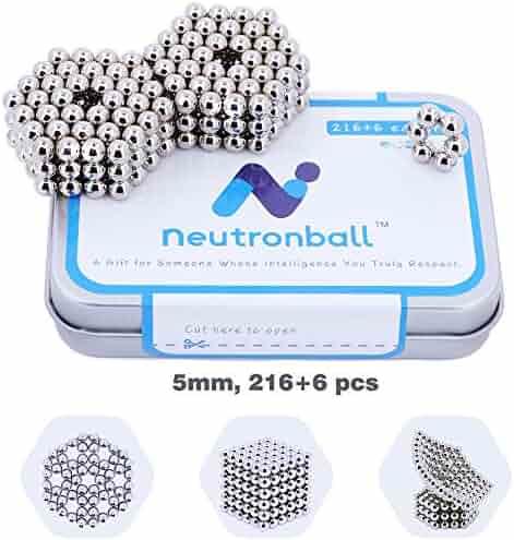 Neutronball Magnetic Scuplture Set 5mm 216 Pieces + 6 Spare (Silver), Magnet Building Blocks Desk Toy and Fidget Toys for Stress Relief