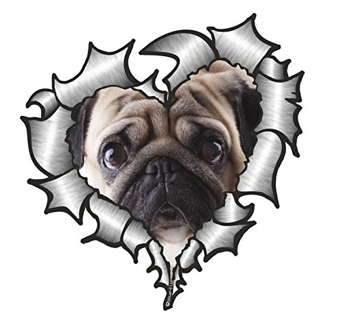 Ripped Torn Metal Heart Pug Dog Vinyl Sticker Dog Window Graphics