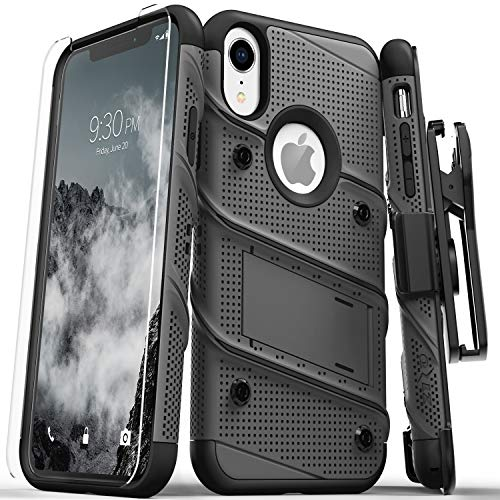 (Zizo Bolt Series Compatible with iPhone XR Case Military Grade Drop Tested with Tempered Glass Screen Protector Holster and Kickstand Metal Gray Black)