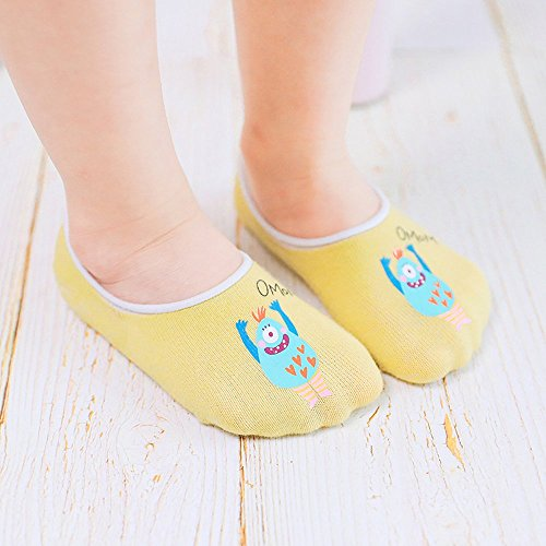 Toddler Non Skid No Show Socks - Low Cut Anti Slip Grip Slippers for Baby Kids Boys Girls 10 Pairs (5-6T, Rabbit) by Junoai (Image #6)