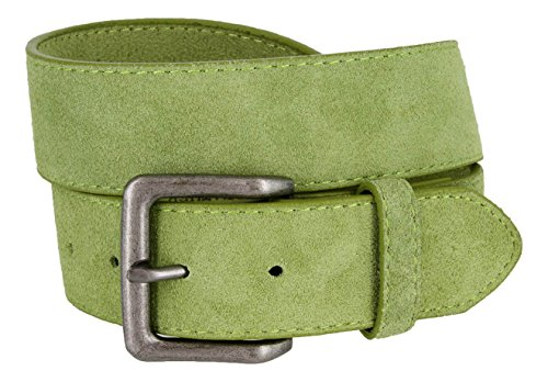 Square Buckle Casual Jean Suede Leather Belt for Men (Green, 34)