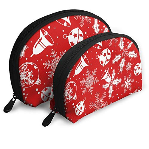 - Christmas Jingle Bell Snowflake 2 Piece Set Cosmetic Beauty Bag Travel Handy Organizer Pouch Clutch Makeup Pouch Set