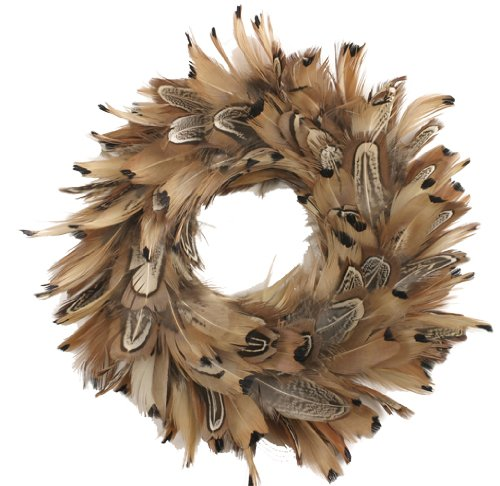 Natural Pheasant Feather Christmas Wreath - 8