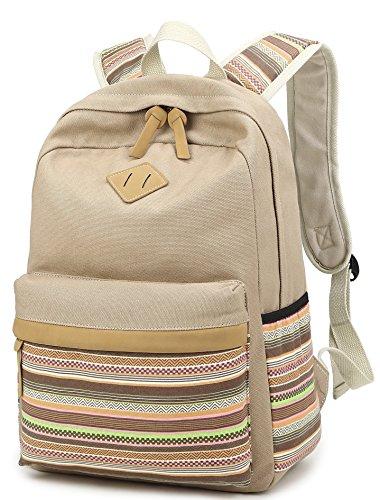 Mädchen Jugendliche Vintage Canvas Rucksäck Ethnische Colorful Striped Schulranzen Outdoor Daypacks (Schwarz) Khaki