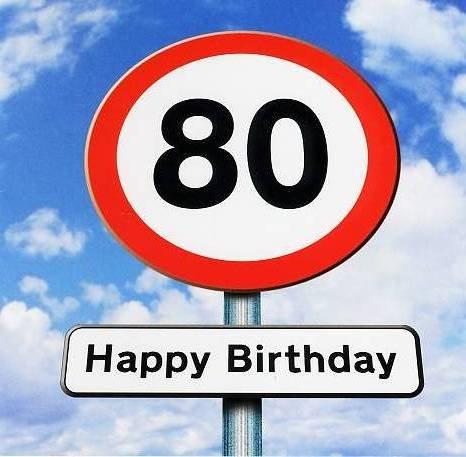 Bigliettino Di Auguri Per 80 Compleanno Con Segnale Stradale