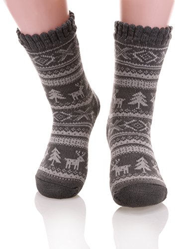 Dosoni Women's Super Warm Deer Fleece Lining Knit Christmas Knee Highs Stockings Slipper Socks (Grey)