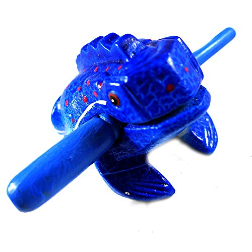 Thailand Hand Carved Wooden Frog Guiro Rasp Croaking Sound Toy Musical instruments Tone Block Choose any Colorand Size Fun for all Ages (Navy Blue, 3'')