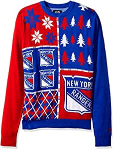 Forever Collectibles KLEW NHL New York Rangers Busy Block Ugly Sweater, Medium, Blue