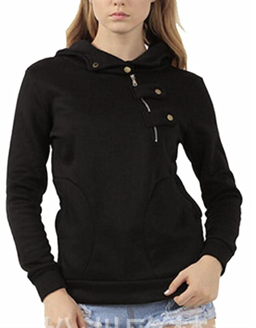 Xswsy XG Womens Hipster Oblique Zipper Pure Hooded Pullover Sweatshirt