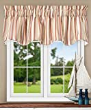 Cheap Ellis Curtain Mason Multi Colored Stripe (Lined Scallop Valance, 70 x 17″, Clay)