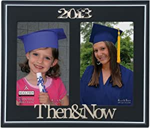 Malden International Designs Graduation 2-Opening 2013 Then and Now Picture Frame with Metal Attachment, 4 by 6-Inch