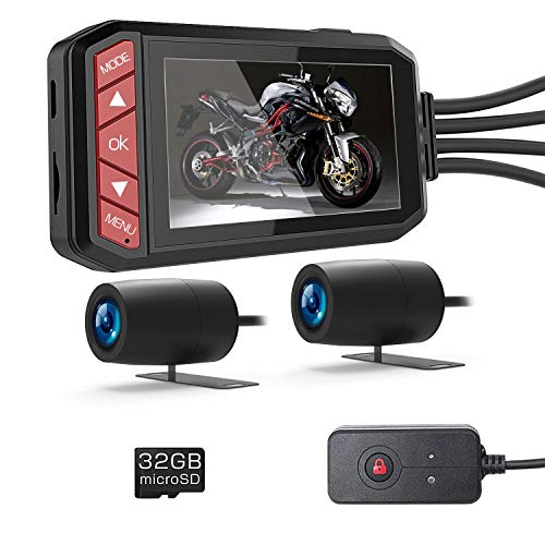 LANCERTECH Motorcycle Dash Cam 1080P FHD DVR Driving Recorder,Front and Rear View Camera for Motorcycle, 130° Wide Angle, 2.7