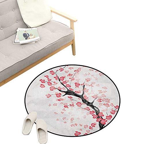 - Cherry Blossom Round Rug Living RoomArt Deco ,Dreamy Japanese Nature in Spring Theme Sakura Tree Branch Artwork, Playroom Super Soft Carpet Floor Mat 23