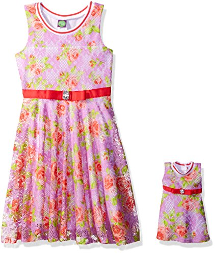 Dollie & Me Big Girls' Sleeveless Floral Lace Dress and Matching Doll Outfit, Lilac/Multi, 7 (Outfits For Tweens)