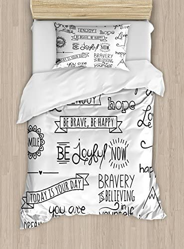 Ambesonne Adventure Duvet Cover Set Various Words On Happiness And Self Value Uplifting Phrases Being Who You Are Decorative 2 Piece Bedding Set With 1 Pillow Sham Twin Size Black White