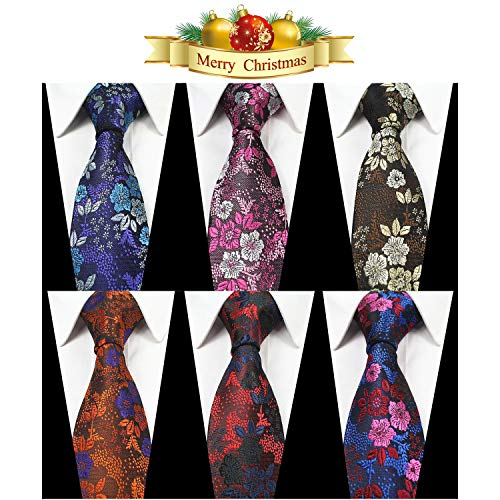OUMUS Men's Ties,Silk Floral Printed Slim Skinny Ties for Men Neckties Pack of ()