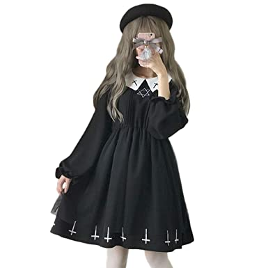 Star Lolita Black Croix Longues Manches Dames Nonne Robe Gothic WH2YDIeE9