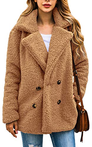 ECOWISH Womens Double Breasted Lapel Open Front Fleece Coat with Pockets Outwear Camel XL