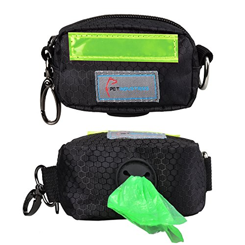 oop Bag Holder Dispenser, Heavy-Duty Waterproof Material, Reflective Strip, Zippered Pouch & Carabiner Clip for Easy Carry and Leash Attachment Strap (Leaf Green) ()