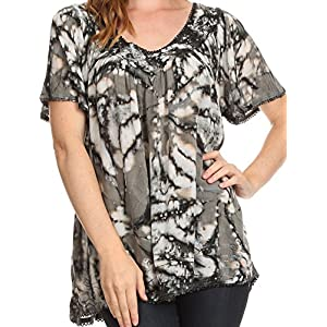 Sakkas 16780 - Laylah Long Wide Short Sleeve Embroidery Lace Sequin Blouse Shirt Tunic Top - Gray - OS